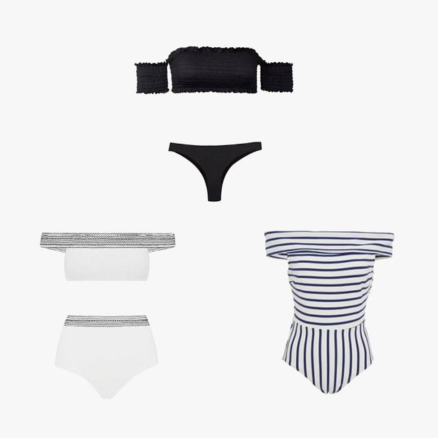 Off-the-Shoulder Solid & Striped Vera off-the-shoulder one-piece swimsuit, $170, modaoperandi.com; Kisuii Mila bikini, $230, kisuii.com; PilyQ smocked off-the-shoulder bikini top, $84, shopbop.com; PilyQ basic ruched bikini bottom, $66, shopbop.com