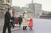 <p>Princess Diana and Lady Rose Windsor walk hand-in-hand as leave the Christmas Day service at St George's Chapel with the rest of the royal family.</p>