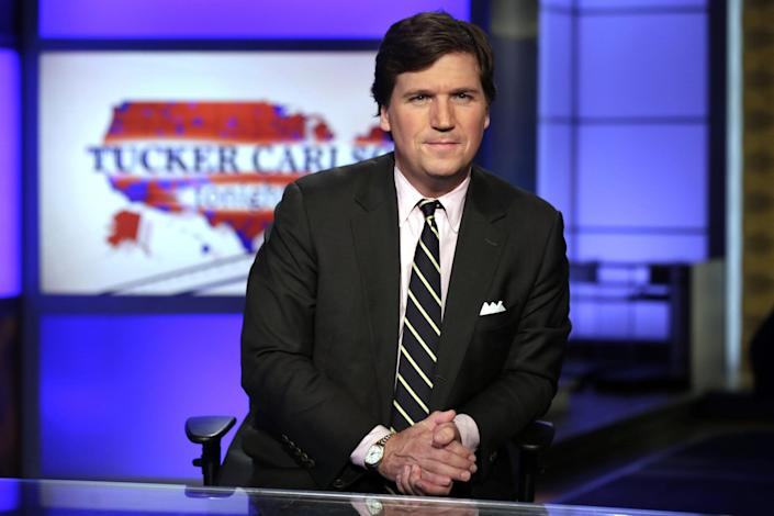 "In this March 2, 2017 file photo, Tucker Carlson, host of ""Tucker Carlson Tonight,"" poses for photos in a Fox News Channel studio, in New York: AP Photo / Richard Drew"