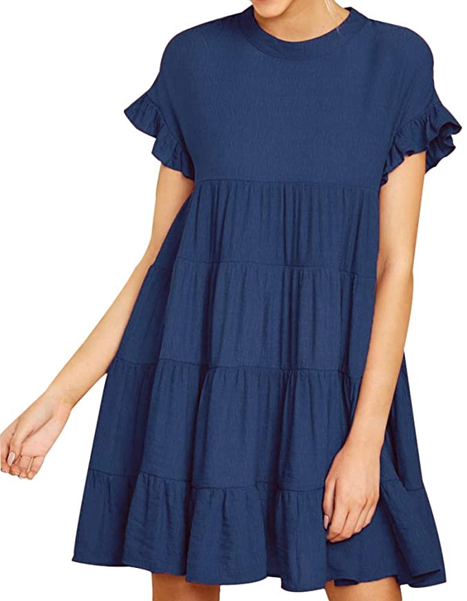 "<br><br><strong>Joteisy</strong> Ruffle Short Sleeve Tiered Casual Mini Dress, $, available at <a href=""https://amzn.to/32q1ScS"" rel=""nofollow noopener"" target=""_blank"" data-ylk=""slk:Amazon"" class=""link rapid-noclick-resp"">Amazon</a>"