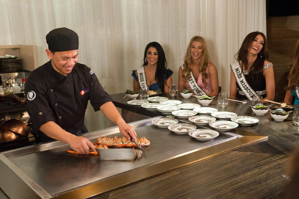 Miss Oregon USA 2013, Gabrielle Neilan; Miss West Virginia USA 2013, Chelsea Welch; and Miss Missouri USA 2013, Ellie Holtman enjoy a tepanyaki meal with chef Jason at Nobu in Caesar's Palace in Las Vegas, Nevada on Thursday June 6, 2013.