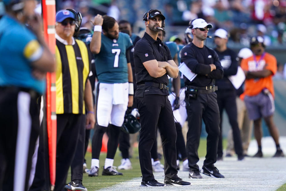 Philadelphia Eagles head coach Nick Sirianni watches play during the second half of an NFL football game against the San Francisco 49ers on Sunday, Sept. 19, 2021, in Philadelphia. (AP Photo/Matt Slocum)