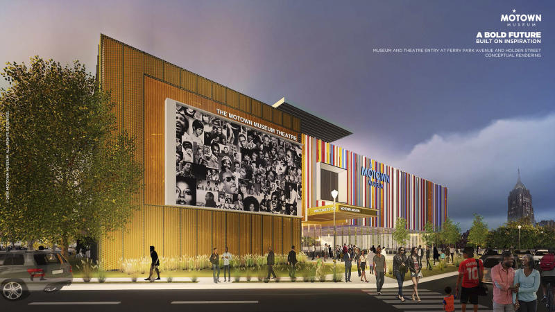 This artist rendering provided by Identity shows plans for an expansion of the Motown Museum in Detroit that will include interactive exhibits, a performance theater and recording studios. The museum said Monday, Oct. 17, 2016, that the new space will be designed and built around the existing museum. (Motown Museum/Identity via AP)