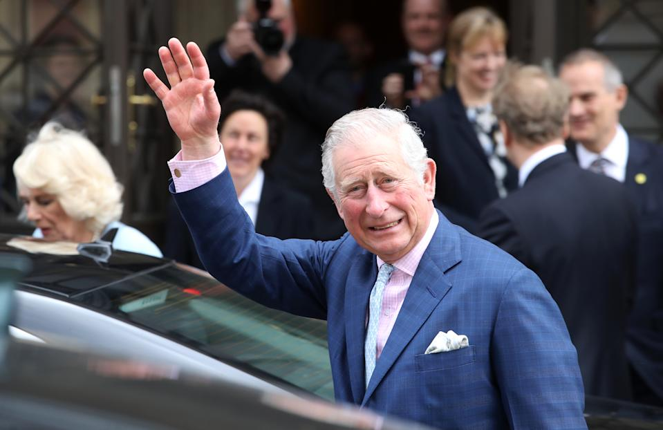 VIENNA, AUSTRIA - APRIL 06:  Prince Charles, Prince of Wales waves to wellwishers after a visit to the Musikverein, home of the 175 year old Vienna Philharmonic Orchestra on April 6, 2017 in Vienna, Austria. Their Royal Highnesses will observe a rehearsal of the Vienna Philharmonic Orchestra, with student participants of the Amadeus Project, and meet the conductor and musicians. (Photo by Chris Jackson - Pool/Getty Images)