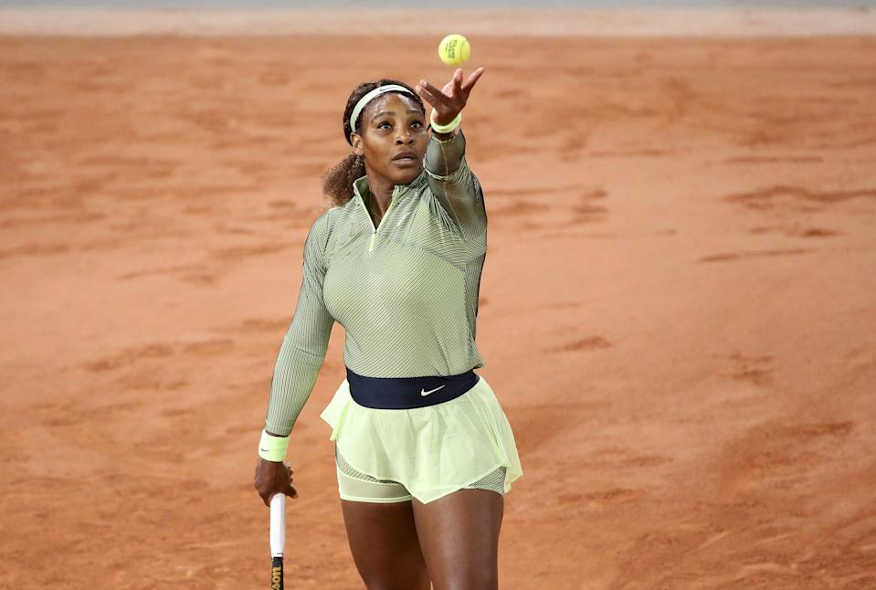 PARIS, FRANCE - MAY 31: Serena Williams of USA during day 2 of Roland-Garros 2021 French Open, a Grand Slam tennis tournament at Roland Garros stadium on May 31, 2021 in Paris, France. (Photo by John Berry/Getty Images)
