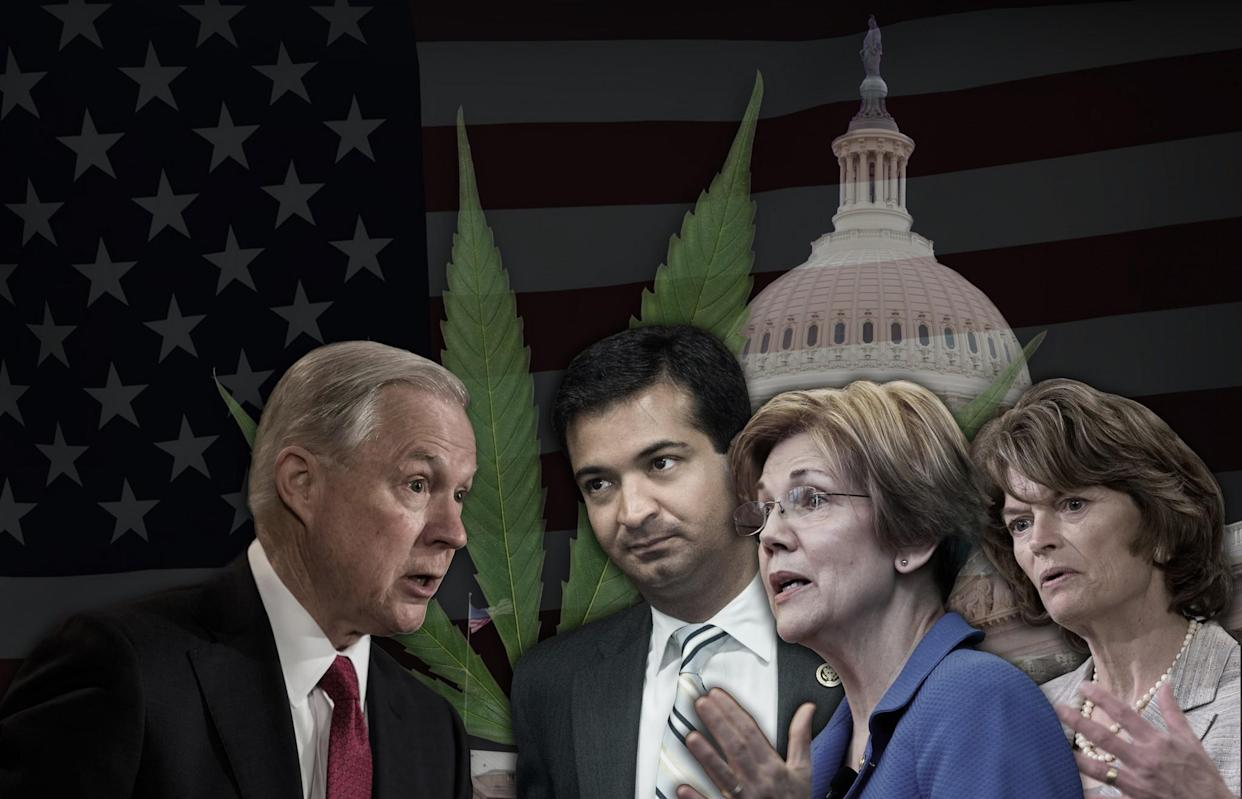 U.S. Attorney General Jeff Sessions, Rep. Carlos Curbelo, R-Fla., Sen. Elizabeth Warren and Sen. Lisa Murkowski. (Photo illustration: Yahoo News; photos: Zach Gibson/Getty Images, Bill Clark/CQ Roll Call, Jessica Rinaldi/The Boston Globe via Getty Images, Manuel Balce Ceneta/AP, Background art: AP, Getty images, Pablo Martinez Monsivais/AP)