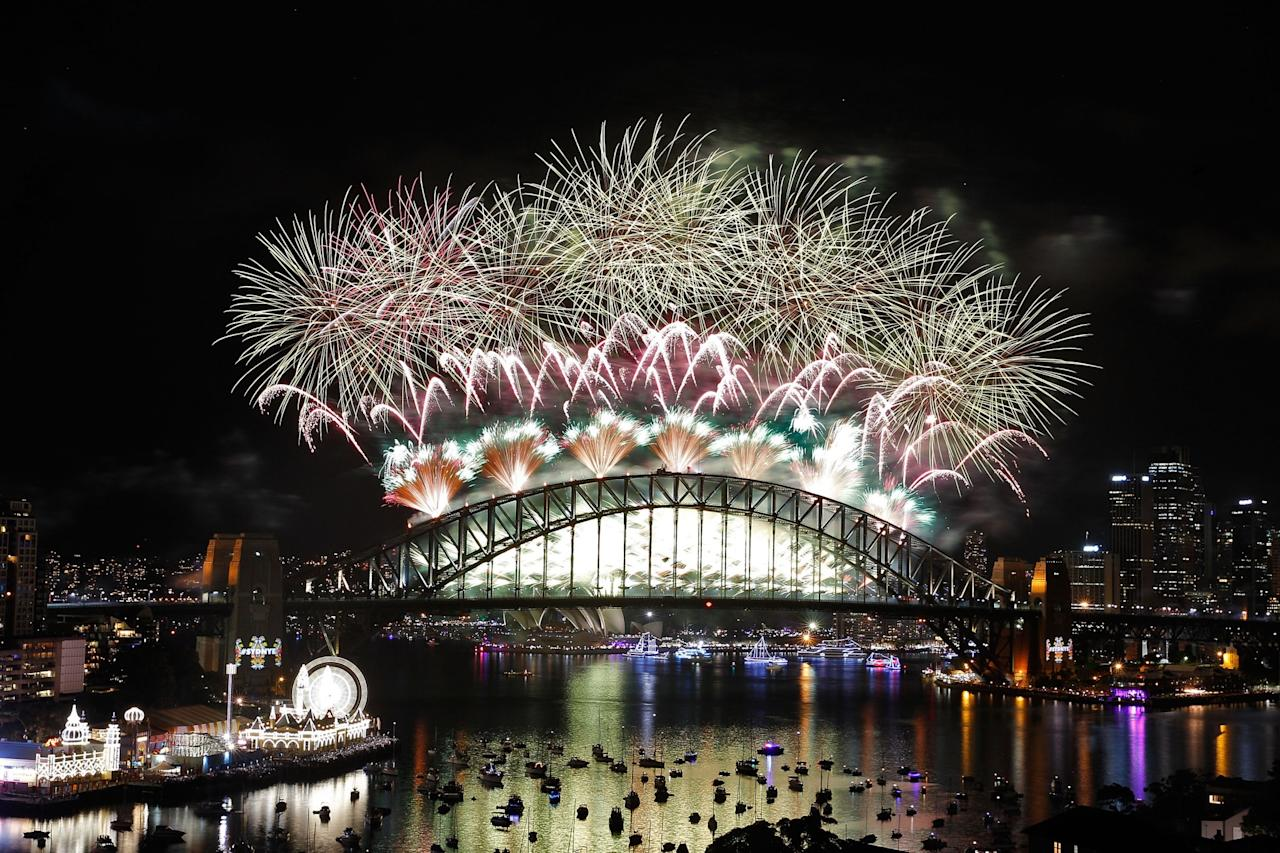 <p>In Australia, new year's eve fireworks are launched from the Sydney Harbour Bridge and Sydney Opera House. Photo from Getty Images </p>