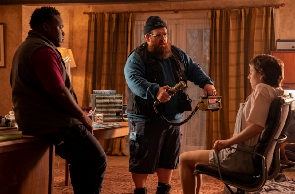 Samson Kayo, Nick Frost and Emma D'Arcy in 'Truth Seekers'Amazon Prime