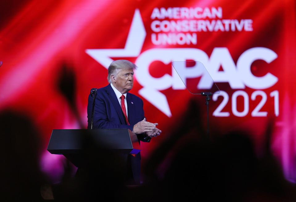 Former U.S. President Donald Trump at  the Conservative Political Action Conference (CPAC) on Feb. 28, 2021, in Orlando, Florida.