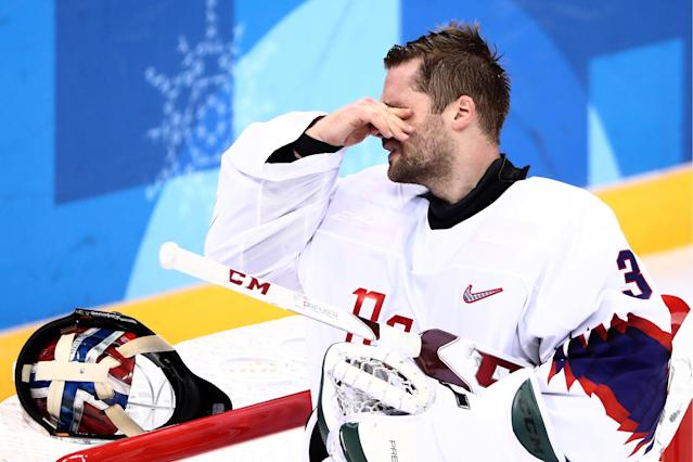 <p>Norway's goaltender Lars Haugen after conceding a goal in their men's quarterfinal ice hockey match against Olympic Athletes from Russia during the 2018 Winter Olympic Games, at the Gangneung Hockey Centre. Valery Sharifulin/TASS (Photo by Valery Sharifulin\TASS via Getty Images) </p>