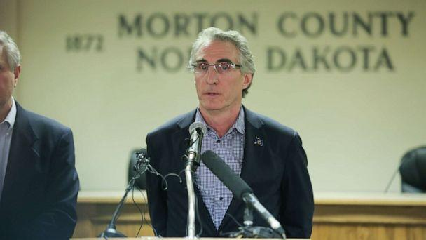PHOTO: North Dakota Governor Doug Burgum speaks during a press conference announcing plans for the clean up of the Oceti Sakowin protest camp, Feb.22, 2017, in Mandan, N.D. (Stephen Yang/Getty Images)