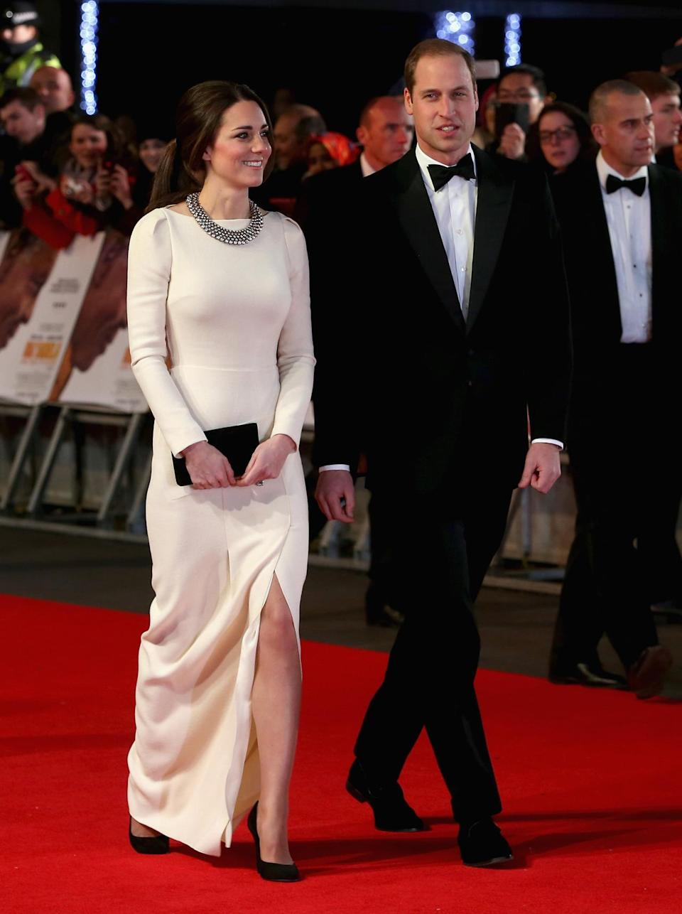 <p>A stunning white Roland Mouret gown was Kate's outfit of choice for the Mandela: Long Walk to Freedom premiere. She accessorised with a beaded necklace from Zara, a Mulberry clutch and suede Prada pumps. </p><p><i>[Photo: PA]</i></p>