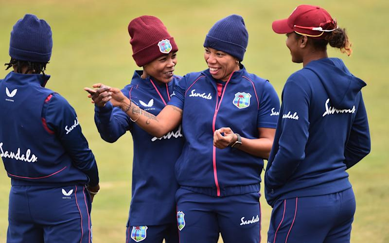 Kaysia Schultz and Chedean Nation of West Indies during the West Indies Women's Cricket Training Session at The County Ground on September 20, 2020 in Derby, England. - GETTY IMAGES