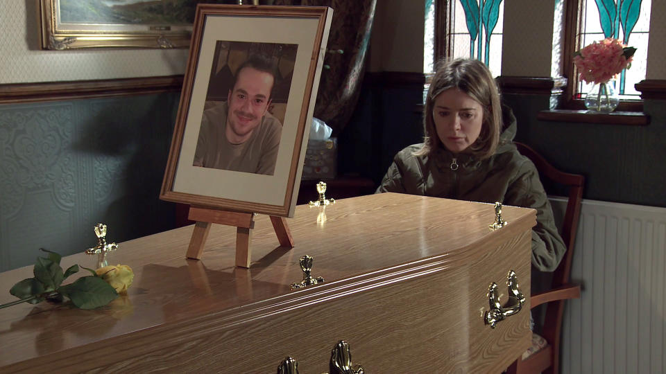 FROM ITV  STRICT EMBARGO - No Use Before Tuesday 25th May 2021  Coronation Street - Ep 10339  Monday 31st May 2021  Sat beside Seb's coffin, Abi Franklin's [SALLY CARMAN] heart breaks as she tells him how she wishes she'd been a better Mum.  Picture contact David.crook@itv.com   This photograph is (C) ITV Plc and can only be reproduced for editorial purposes directly in connection with the programme or event mentioned above, or ITV plc. Once made available by ITV plc Picture Desk, this photograph can be reproduced once only up until the transmission [TX] date and no reproduction fee will be charged. Any subsequent usage may incur a fee. This photograph must not be manipulated [excluding basic cropping] in a manner which alters the visual appearance of the person photographed deemed detrimental or inappropriate by ITV plc Picture Desk. This photograph must not be syndicated to any other company, publication or website, or permanently archived, without the express written permission of ITV Picture Desk. Full Terms and conditions are available on  www.itv.com/presscentre/itvpictures/terms