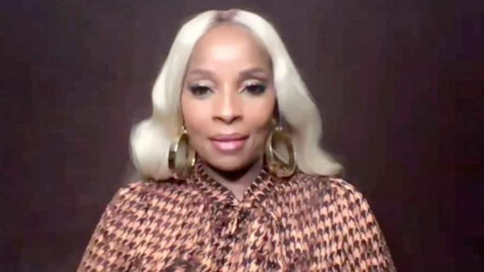 """In this screengrab, Mary J. Blige speaks during Vulture's """"A Night In With New York's Most Powerful Legends"""" virtual panel in October. (Photo by Getty Images/Getty Images for Vox Media)"""