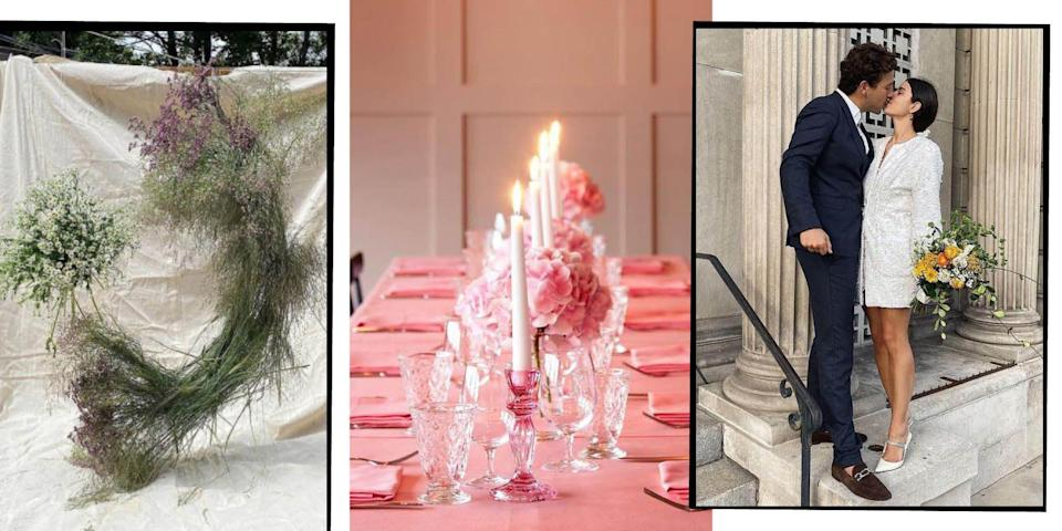 """<p>Last year we witnessed a sea change in what couples, and guests, expected of a <a href=""""https://www.elle.com/uk/wedding/"""" rel=""""nofollow noopener"""" target=""""_blank"""" data-ylk=""""slk:wedding"""" class=""""link rapid-noclick-resp"""">wedding</a>. At the beginning of 2020 three-day affairs abroad with 150 guests may have sounded lavish, but legal. However, by the end of the year, 20 close friends and family watching vows via Zoom video call was au fait.</p><p>This is because, as of March 2020, the <a href=""""https://www.elle.com/uk/life-and-culture/culture/a31736044/coronavirus-wedding/"""" rel=""""nofollow noopener"""" target=""""_blank"""" data-ylk=""""slk:wedding industry was gravely hit by the pandemic"""" class=""""link rapid-noclick-resp"""">wedding industry was gravely hit by the pandemic</a>, with nuptials forced to be downsized drastically or cancelled altogether, sometimes with mere hours notice. However, as is often true of such dark clouds (and this has been one very dark cloud), there has been a silver lining: the birth of the 'micro wedding'. </p><p>Born from necessity (<a href=""""https://www.elle.com/uk/life-and-culture/culture/a31736044/coronavirus-wedding/"""" rel=""""nofollow noopener"""" target=""""_blank"""" data-ylk=""""slk:government guidelines currently dictate up to 15 people can attend civil ceremonies and weddings"""" class=""""link rapid-noclick-resp"""">government guidelines currently dictate up to 15 people can attend civil ceremonies and weddings</a> and that number will go up to 30 from May 17), micro weddings (see <a href=""""https://www.elle.com/uk/life-and-culture/culture/a33346513/princess-beatrice-marries-edoardo-mapelli-windsor/"""" rel=""""nofollow noopener"""" target=""""_blank"""" data-ylk=""""slk:Princess Beatrice"""" class=""""link rapid-noclick-resp"""">Princess Beatrice</a>'s for reference) have given couples the opportunity to reassess what they want from their 'big' day, and consider what they truly find important.</p><p>'Whatever happens with Covid-19, we believe the micro wedding is here to stay.' Jess Kaye, co-founder """