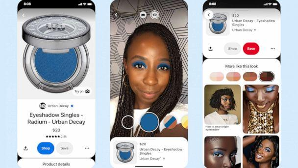 PHOTO: Pinterest has launched an AR eyeshadow try-on tool for its users. (Pinterest)