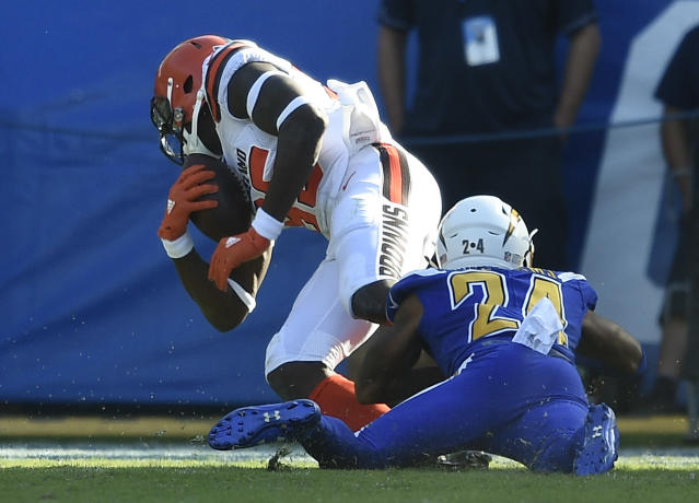 David Njoku made another house call in Week 13, his fourth of the year. (AP Photo/Kelvin Kuo)
