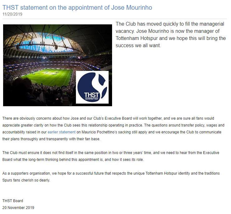 Fans group reveals concerns following Mourinho appointment