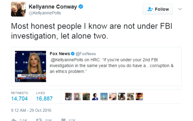 Kellyanne Conway's tweet from October 2016 - Credit: Twitter