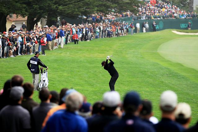 SAN FRANCISCO, CA - JUNE 14: Bubba Watson hits his approach shot on the tenth hole during the first round of the 112th U.S. Open at The Olympic Club on June 14, 2012 in San Francisco, California. (Photo by David Cannon/Getty Images)