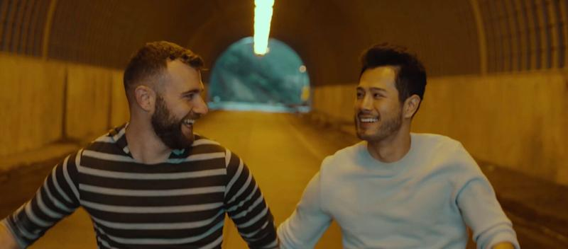 """Singaporean singer-songwriter Willie Tay, or Wils (right) in the music video for his single """"Open Up Babe""""."""