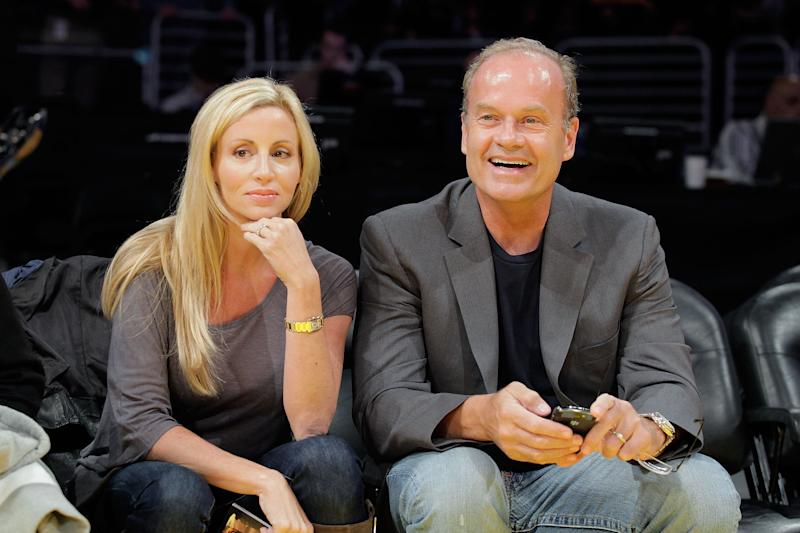 LOS ANGELES, CA - OCTOBER 30: Kelsey Grammer (R) and Camille Donatacci (L) attend the Los Angeles Lakers v Dallas Mavericks game on October 30, 2009 in Los Angeles, California. (Photo by Noel Vasquez/Getty Images)