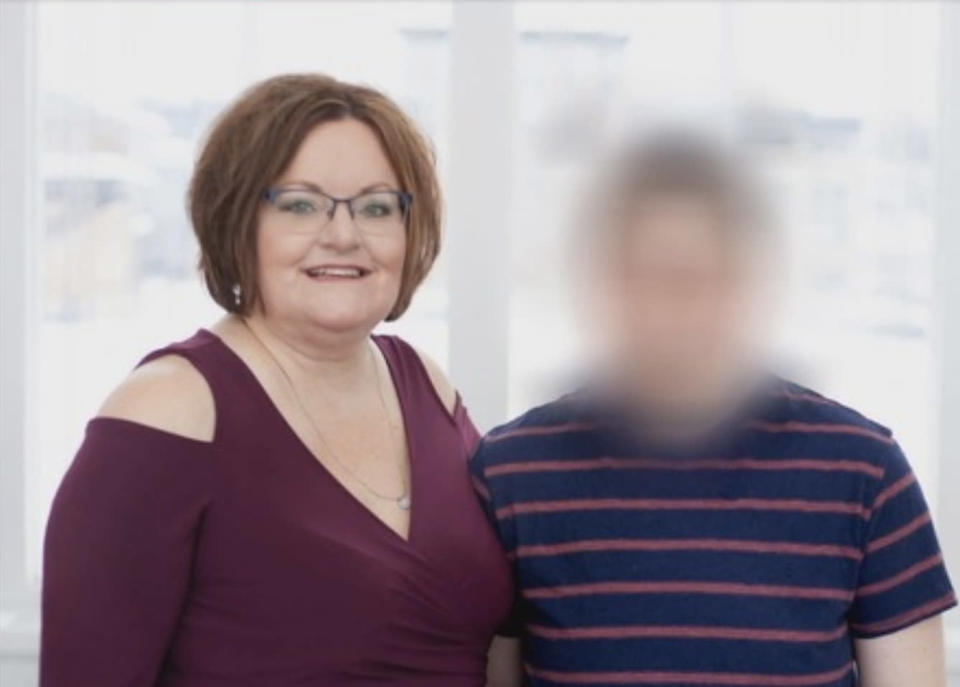A transgender student, who is blurred here in a picture with his mom, experienced mental anguish after being forced to use a separate locker room at school. (Photo: Courtesy of Fox 9)
