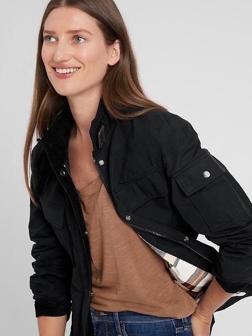 <p>The coating on this <span>Banana Republic Water-Resistant Field Jacket</span> ($135, originally $169) keeps it - and you - safe from the elements, and we love all the pockets on both the black and olive green versions.</p>