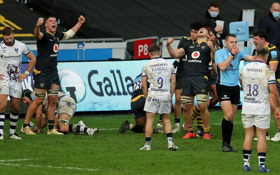 Wasps' Tom Willis and his brother Jack Willis celebrate their victory at the final whistle - Getty Images