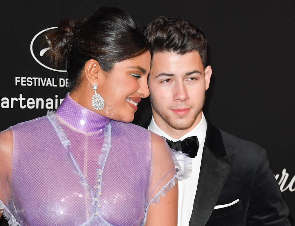 CANNES, FRANCE - MAY 17: Priyanka Chopra and Nick Jonas attend the Chopard Party during the 72nd annual Cannes Film Festival on May 17, 2019 in Cannes, France. (Photo by George Pimentel/WireImage)