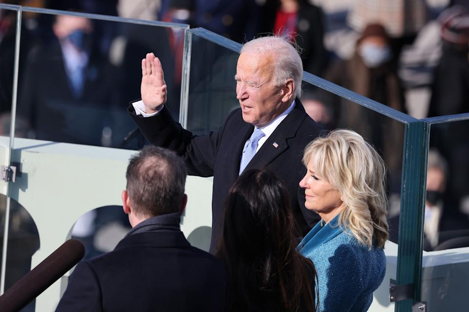 <strong>Joe Biden is sworn in as US president as his wife Dr Jill Biden looks on during his inauguration on the West Front of the US Capitol</strong> (Photo: Tasos Katopodis via Getty Images)