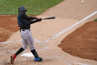 Miami Marlins Jazz Chisholm (70) hits a two-run double during the second inning of a baseball game against the New York Yankees, Sunday, Sept. 27, 2020, at Yankee Stadium in New York. (AP Photo/Kathy Willens)