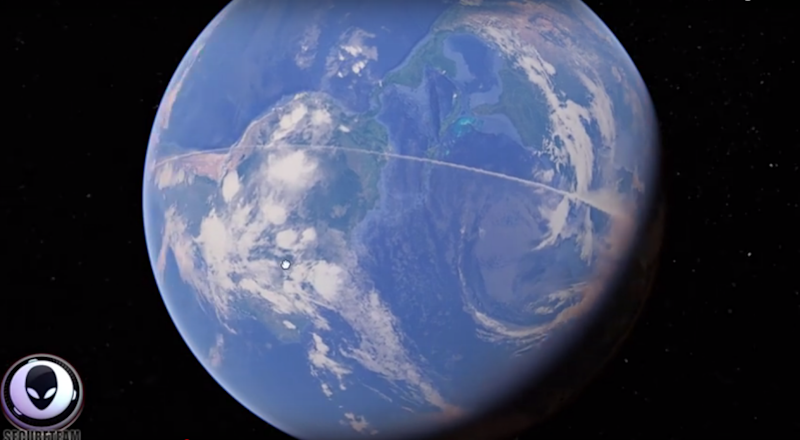 A YouTuber found this bizarre white line spanning across the globe on Google Earth. Photo: YouTube/sercureteam10