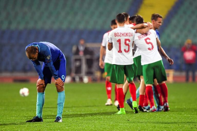 Netherland's Bas Dost reacts after losing  the FIFA World Cup 2018 qualification football match against Bulgaria in Sofia on March 25, 2017