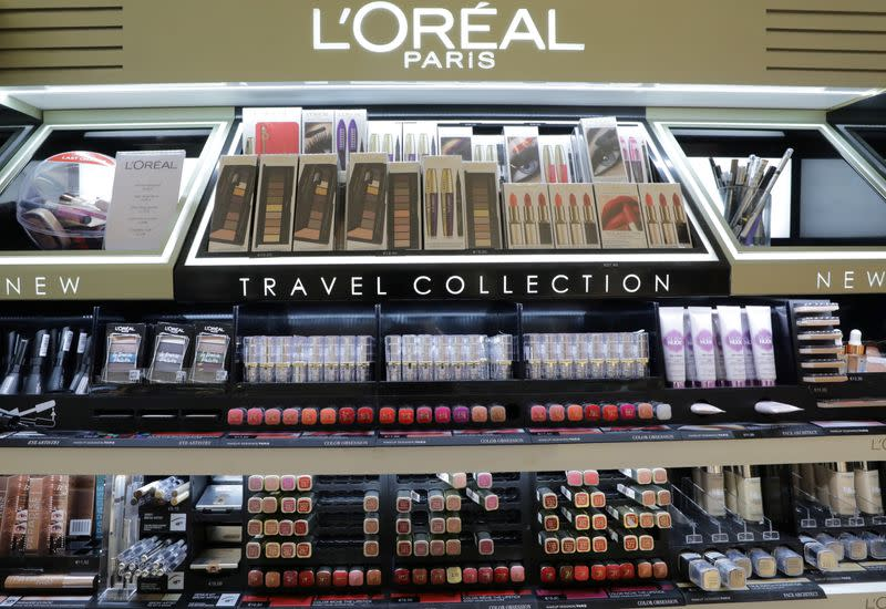 FILE PHOTO: A cosmetic display of French cosmetics group L'Oreal is seen at a duty free shop at the Nice International Airport, in Nice