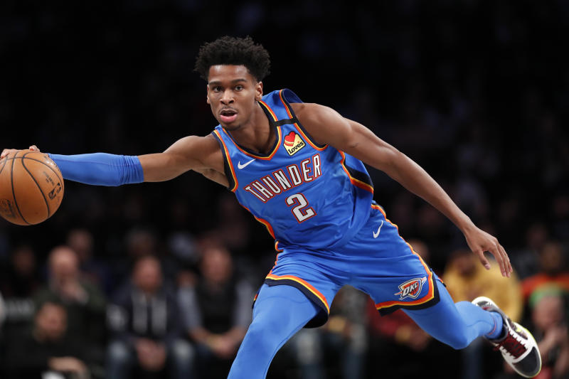 Oklahoma City Thunder guard Shai Gilgeous-Alexander (2) during the first half of an NBA basketball game, Tuesday, Jan. 7, 2020, in New York. (AP Photo/Kathy Willens)