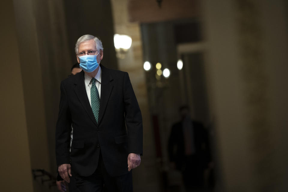 Senate Minority Leader Mitch McConnell (R-KY) walks to the Senate Chamber on the third day of former President Donald Trump's second impeachment trial at the U.S. Capitol on February 11, 2021 in Washington, DC. (Drew Angerer/Getty Images)