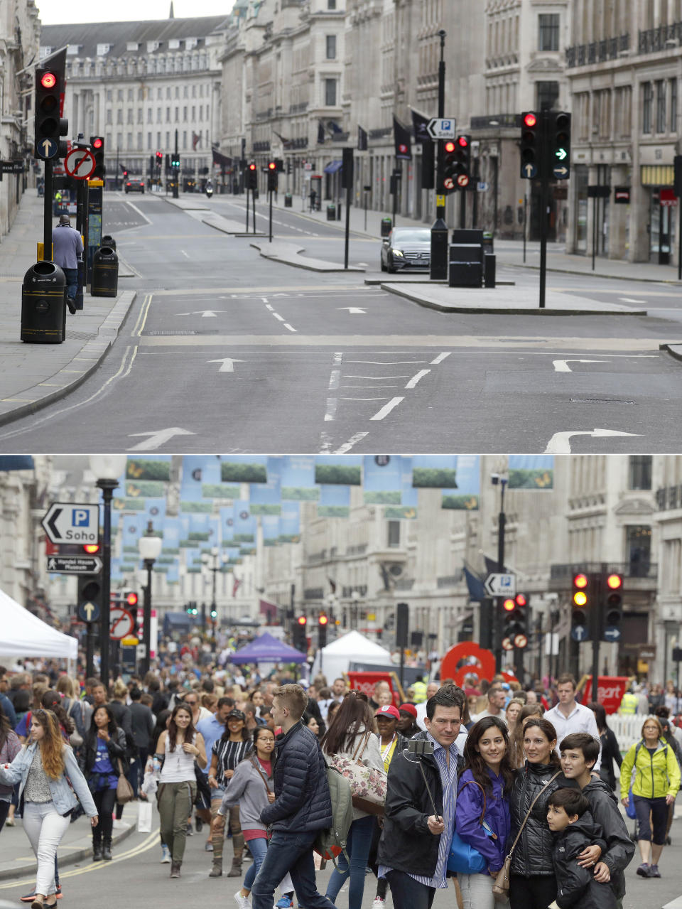 A combo of images shows people walking on a traffic free Regent street in London on Sunday, July 12, 2015 and an image of an empty street taken from the same angle on Wednesday, April 1, 2020. When Associated Press photographer Frank Augstein moved to London in 2015, what struck him most was the crowds. In years of covering political dramas, moments of celebration and tragedy and major sporting events, Augstein's photographs have captured the city's ceaseless movement: Pedestrians swarming over the Millennium footbridge spanning the River Thames. Travelers from the U.K. and continental Europe thronging St. Pancras railway station. Commuters following London transit etiquette by carefully ignoring one another on a crowded Tube train, or waiting patiently in a snaking bus queue. Augstein revisited those sites in recent days after Britain — like other countries around the world — went into effective lockdown to stem the spread of the new coronavirus. (AP Photo/Frank Augstein)