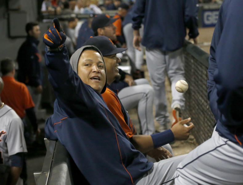 Detroit Tigers third baseman Miguel Cabrera sits in the dugout between the seventh and eighth innings of a baseball game against the Chicago White Sox Tuesday, July 23, 2013, in Chicago. (AP Photo/Charles Rex Arbogast)