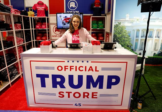 <p>Merritt Corrigan tends the Official Trump Store at the Conservative Political Action Conference (CPAC) at National Harbor, Md., Feb. 22, 2018. (Photo: Kevin Lamarque/Reuters) </p>