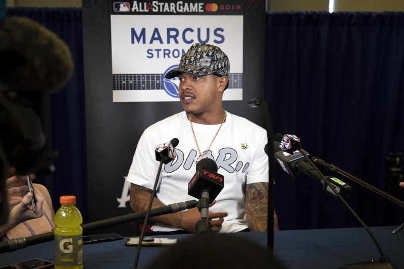 CLEVELAND, OH - JULY 08: Marcus Stroman #6 of the Toronto Blue Jays speaks to the media during All-Star Media Availability at Progressive Field on Monday, July 8, 2019 in Cleveland, Ohio. (Photo by Mary DeCicco/MLB Photos via Getty Images)