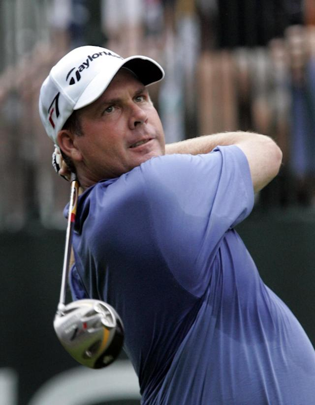 Doug Barron of Memphis, Tenn., drives on the first hole during the first round of the Buick Open at Warwick Hills Golf & Country Club in Grand Blanc, Mich., Thursday, Aug. 3, 2006. (AP Photo/Carlos Osorio)