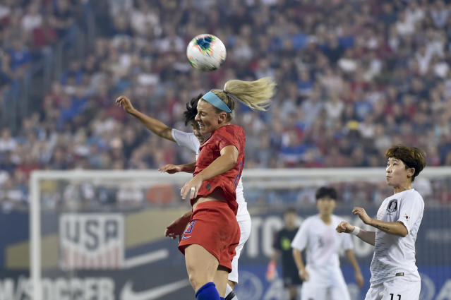 United States' Julie Erta (8) heads the ball during the team's soccer match against South Korea on Thursday, Oct. 3, 2019, in Charlotte, N.C. (AP Photo/Mike McCarn)