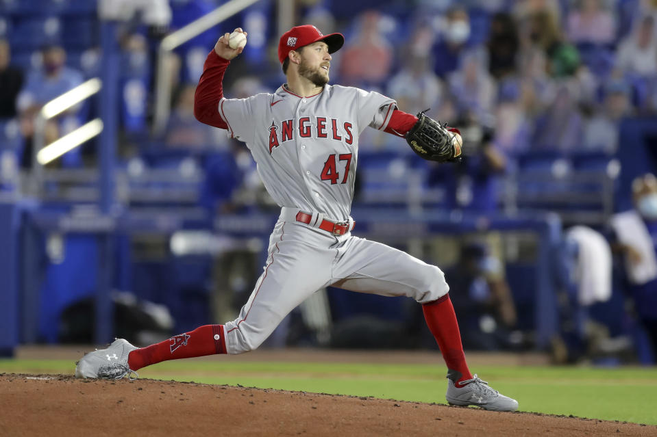 Los Angeles Angels starting pitcher Griffin Canning throws against the Toronto Blue Jays during the third inning of a baseball game Thursday, April 8, 2021, in Dunedin, Fla. (AP Photo/Mike Carlson)
