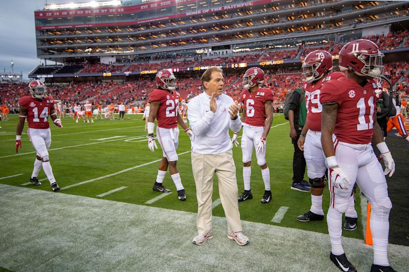 SANTA CLARA, CA - JANUARY 07: Nick Saban takes the field prior to the College Football Playoff National Championship held at Levi's Stadium on January 7, 2019 in Santa Clara, California. The Clemson Tigers defeated the Alabama Crimson Tide 44-16. (Photo by Jamie Schwaberow/Getty Images)