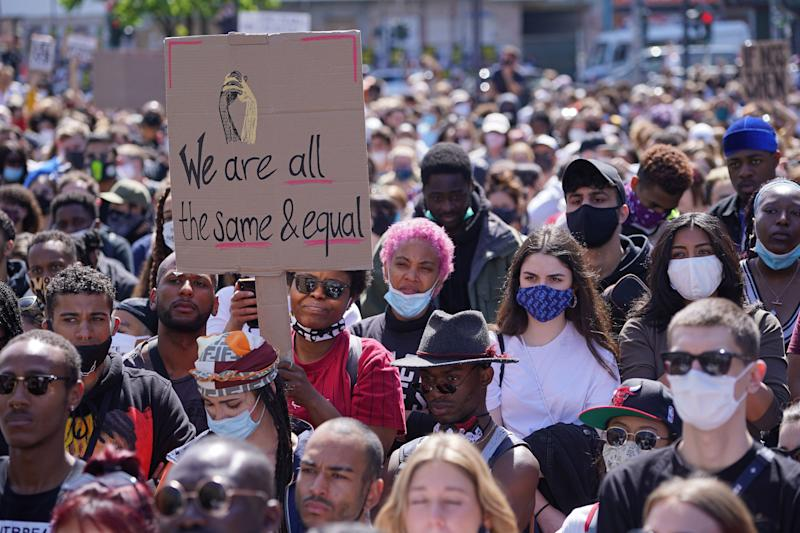 People attend a protest rally against racism on May 31, 2020 in Berlin.