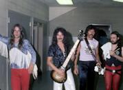 <p>Ozzy Osbourne, Tony Iommi, Geezer Butler and Bill Ward of the heavy metal band Black Sabbath pose for a portrait backstage at Cobo Hall on November 26, 1976 in Detroit, Michigan.</p>