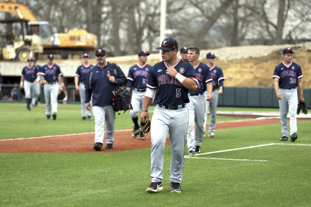 Six University of Virginia pitchers combined to no-hit William and Mary on Wednesday. (Matt Gentry /The Roanoke Times via AP)