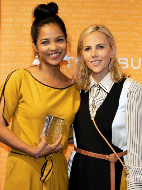 PHOTO: Designer Tory Burch poses with Tea Drops founder Sashee Chandran. (Tory Burch Foundation)